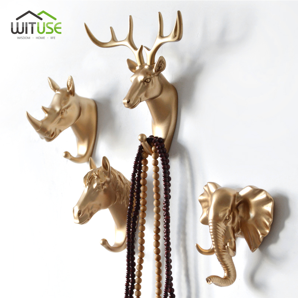 Creative 3D Wall <font><b>Hangers</b></font> Decoration Animal Door Hooks Decorative Coat Hooks Resin Hooks <font><b>Deer</b></font> Rhino Elephant Giraffe Horse Decors image