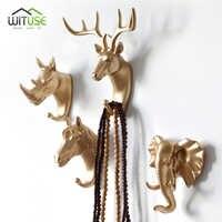 Kreative 3D Wand Kleiderbügel Dekoration Tier Tür Haken Dekorative Mantel Haken Harz Haken Deer Rhino Elefant Giraffe Pferd Dekore