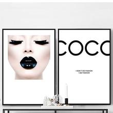 Pintura en lienzo moderna de COCO, carteles de chicas sexis e impresiones, imagen artística para pared para sala de estar, decoración del hogar, labios negros sin marco