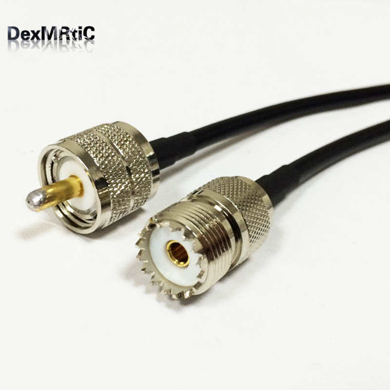 UHF male PL259 switch UHF female SO239 RF pigtail cable RG58 50cm/100cm for wireless router wholesale NEW