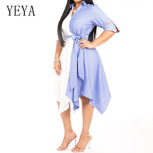 YEYA Fashion White and Blue Stripes Combined Short Sleeve Dress Sexy V Neck Lace Up Asymmetrical Dress Women Summer Office Wear