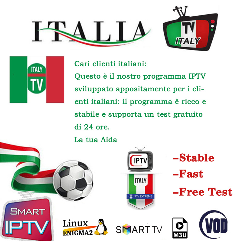 One year Italy IPTV M3U Subscription arabic europe french polish albania uk  spanish support Android ios smart iptv mag free test