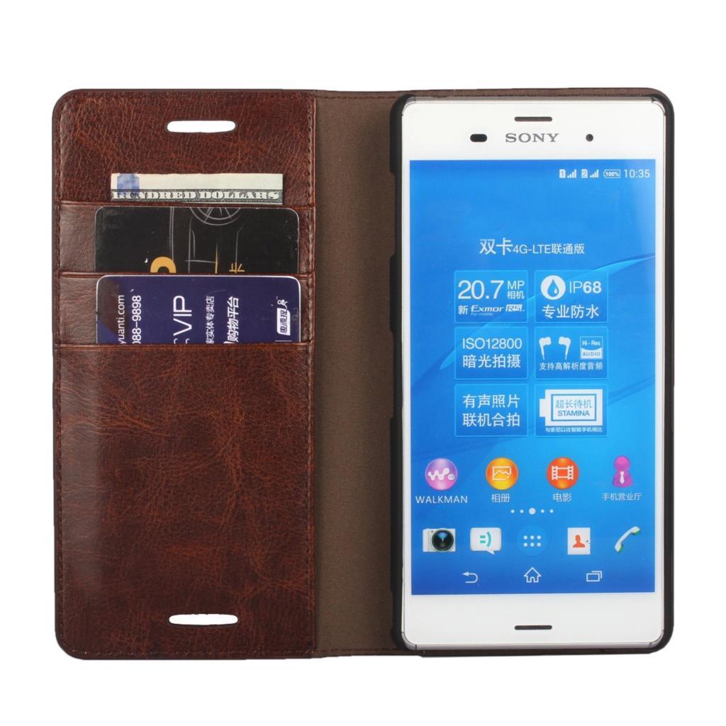 Цена за Люкс бумажник чехол для Sony Xperia Z3 D6603 D6633 D6653 Премиум кожаный чехол для Sony Z3 откидная крышка Сумки