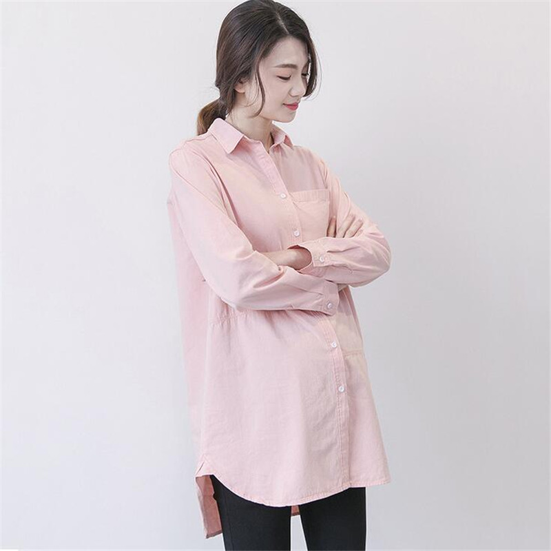 цена на Pregnant Clothes Long Shirts Women Solid Pink White Camisetas Maternity Casual Shirts Spring Turn Down Collar Shirts Pregnancy