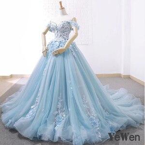 Image 2 - יוקרה נסיכת פרחי תחרה כלה חתונה שמלות 2020 חרוזים כדור שמלת אור כחול צבע הכלה שמלה אלגנטי robe דה mariee