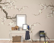 beibehang White plum blossom background wallpaper hand-painted blossoms living room bedroom mural 3d