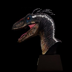 Image 1 - ITOY Feather Velociraptor Jurassic Dinosaur Head Sculpture Limited Edition