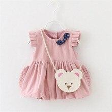 2016 MINI bébé robe mignon bowknot ruches solide couleurs princesse robe pour le printemps et d'été vêtements pour bébés