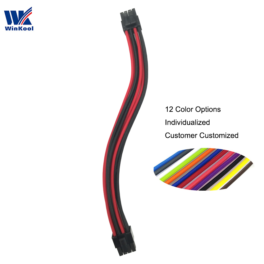 WinKool Multi-color Options  Individually CPU 8Pin Male Type 3/4 Sleeved Cable For Corsair PSU All AXi HXi RMi RMx RM SF Series