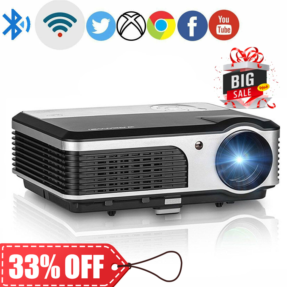 LED Smart Android WiFi Projector Home Cinema Bluetooth Proyector Miracast Airplay Full HD Video Mobile Beamer