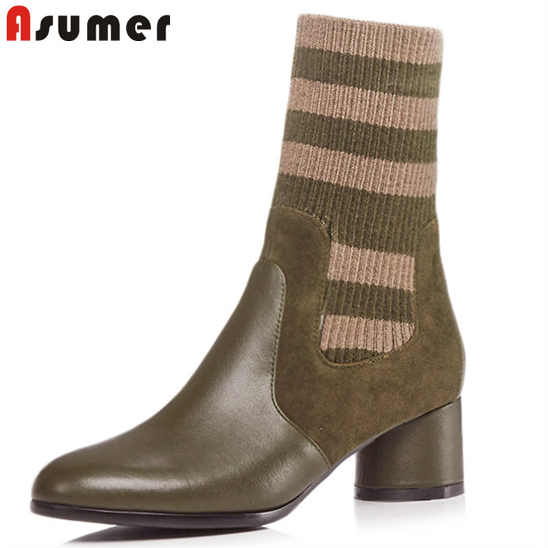 ASUMER size 34-43 fashion autumn winter boots women round toe knitting+cow leather boots high heels ladies ankle boots 2018 newASUMER size 34-43 fashion autumn winter boots women round toe knitting+cow leather boots high heels ladies ankle boots 2018 new
