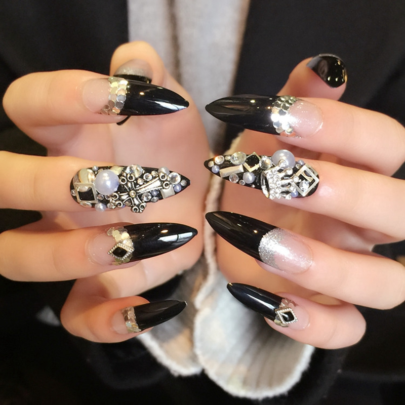Extra Long French Nails Pointed Black Press On Nails Alloy Studs ...