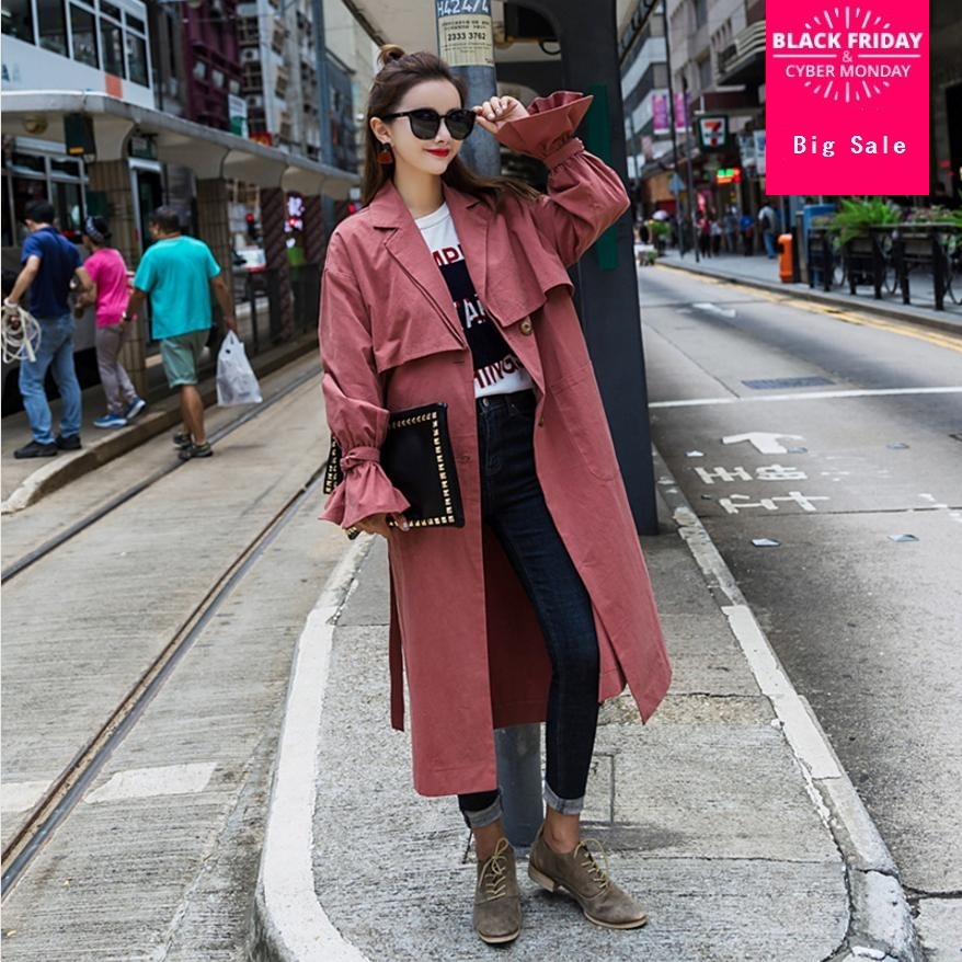 Korean Version Fashion women's   trench   2018 autumn winter new casual loose flare sleeve long section cotton ladies   trench   L854