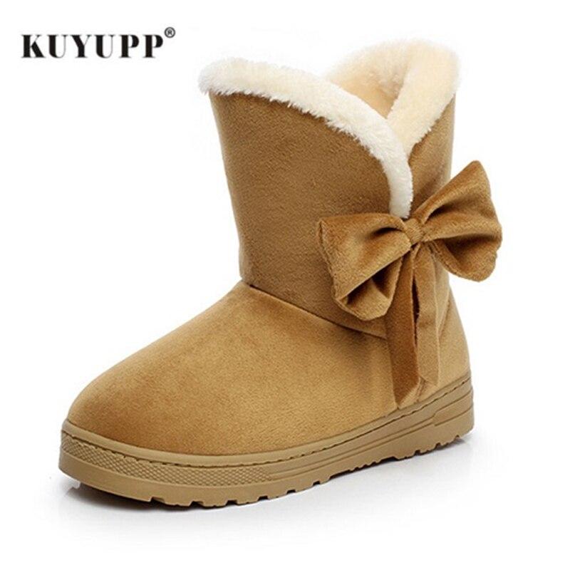 KUYUPP Flock Women Snow Boots Short Plush Winter Shoes 2017 Flat Heels Warm Plush Ankle Boots Round-toe Female Women Shoes DX905