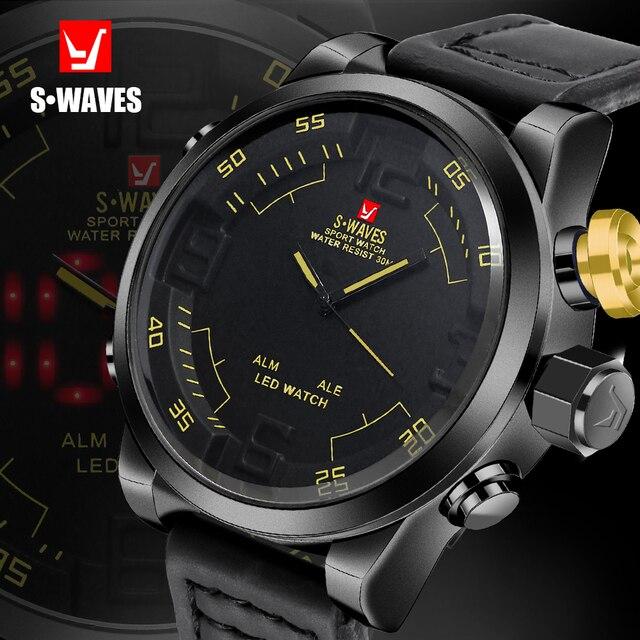 eceee069866 Reloj de pantalla Dual SWAVES de marca de lujo para hombre