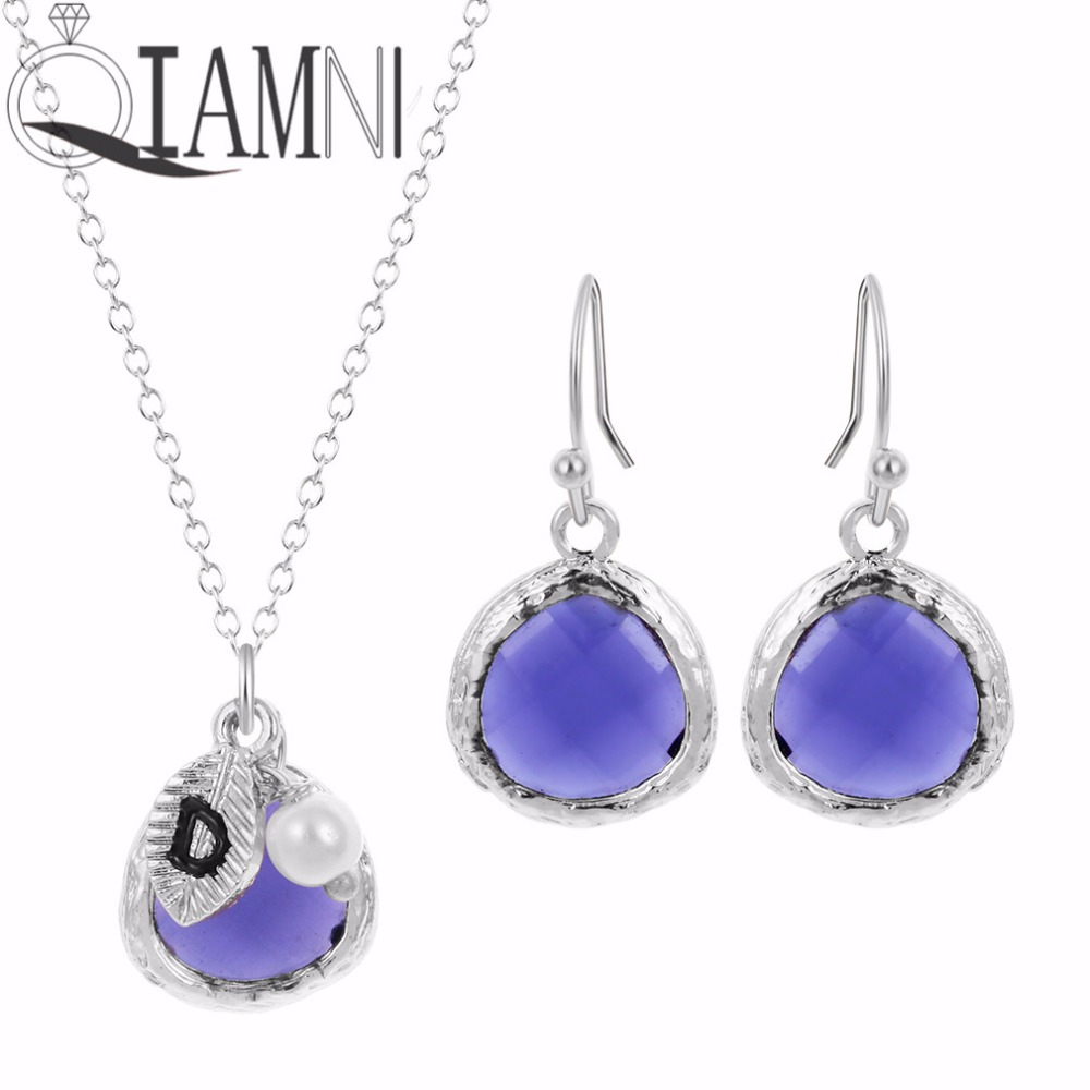 QIAMNI Fashion Jewelry Sets Purple Stone Necklace Colorful Crystal Initial Beautiful Bridesmaid Necklace for Women Gift