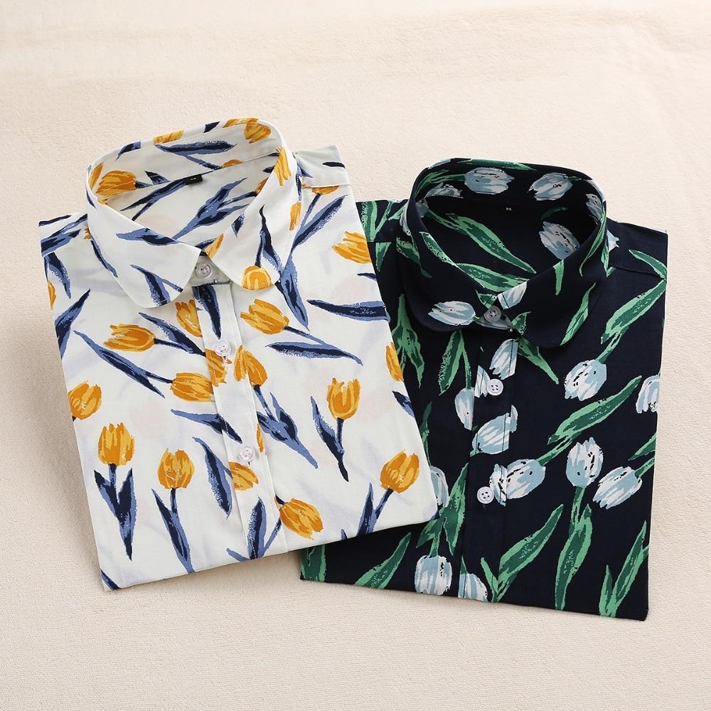2018 Algodón de Verano Blusas de Las Mujeres Camisas de Impresión - Ropa de mujer - foto 3