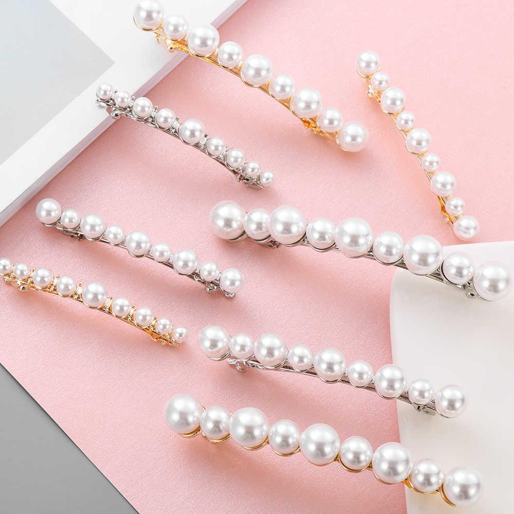2019 Nova Moda Vintage Mulheres Pérolas Liga Presilhas de Cabelo Bangs Clipe Hairpin Headwear Styling Acessórios de Cabelo Para As Mulheres Meninas