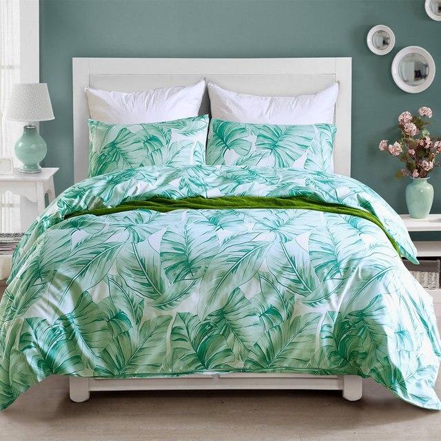 Pastoral Bed Linen Set Palm Leaves Bedding Set Adults' Bed Bedclothes Microfiber Green Comforter Duvet Cover Set For King Queen