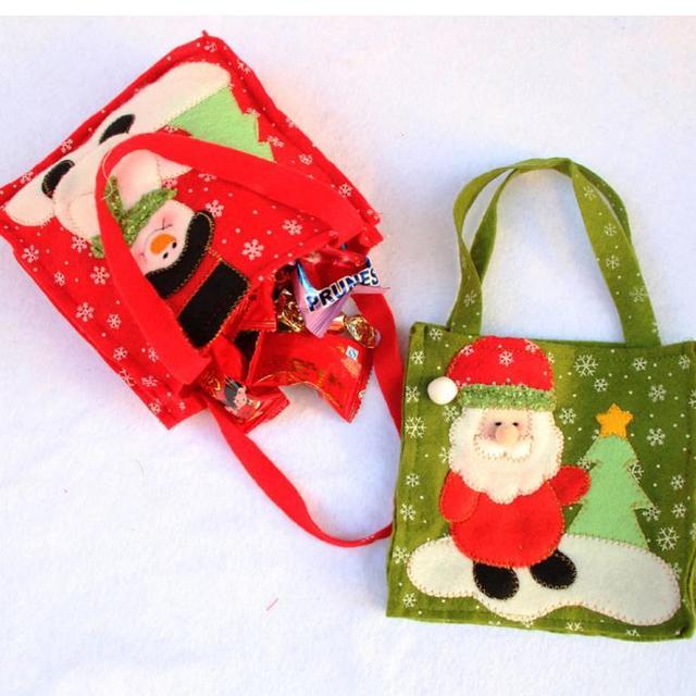 Christmas Snowman Santa Claus Candy Gift bag Treat Bags Kids Present ...