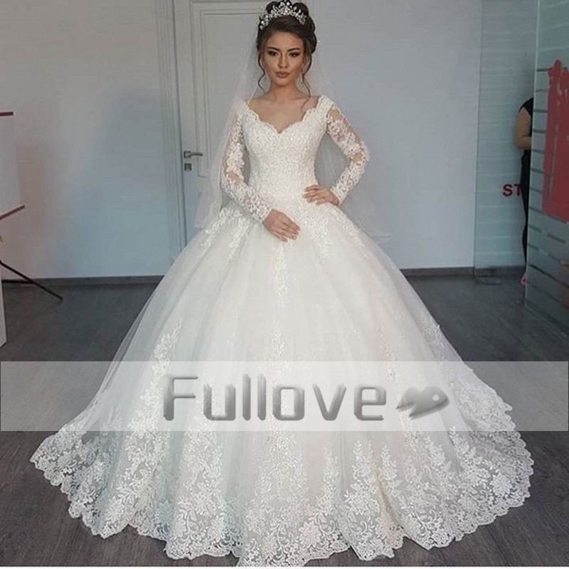 Romantic Slim Cut Lace Long Sleeve Princess Wedding Dresses 2017 Up Ball Gown Appliques Bridal Dress Vestidos De Noiva In From Weddings