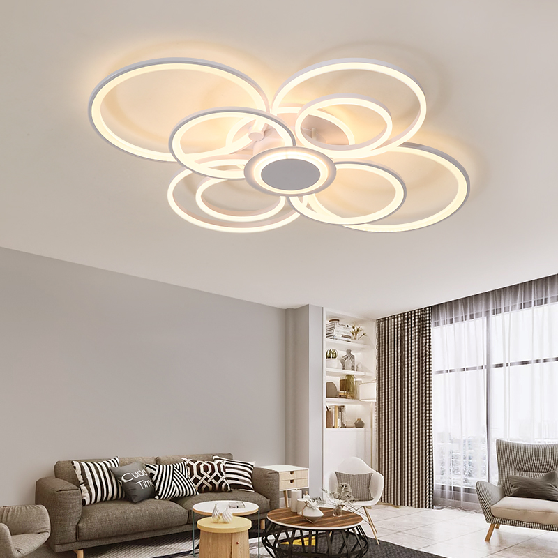 New white modern LEDCeiling Lights living room bedroom dining room lighting acrylic ring LED ceiling chandelier