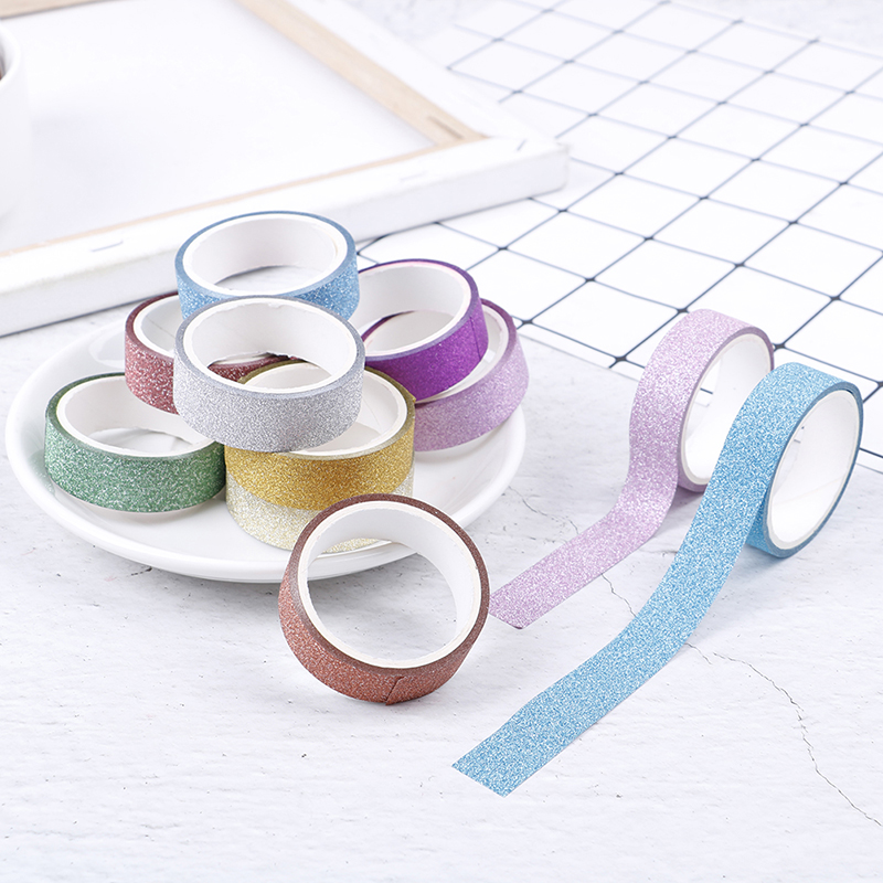 10pcs Adhesive Silver Golden Glitter Washi Tape Stationery Scrapbooking Christmas Party Kawaii Cute Decorative Paper Crafts