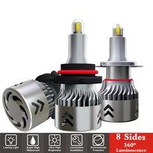 2Pcs 8 Sides H7 LED Car Bulb 15000LM 60W H1 H3 H11 HB3 HB4 9005 9006 Super Bright Auto Lights 6000K 12V 24V Automobile Led Lamp