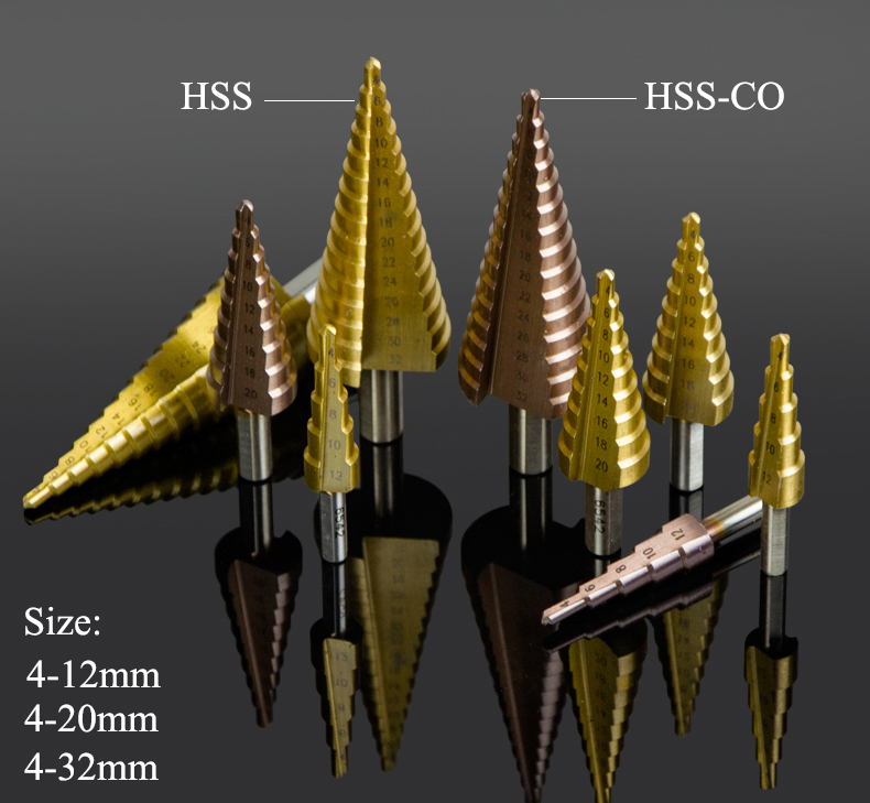 4-12mm 4-20mm 4-32mm HSS-CO HSS CO Cobalt Titanium Coated Metal Woodworking Hole Cutter Saw Pagoda Triangle Cone Step Drill Bit high quality 4 32mm hss metal steel step drill bit pagoda shape hex shank pagoda hole cutter cut tool a single pack best price