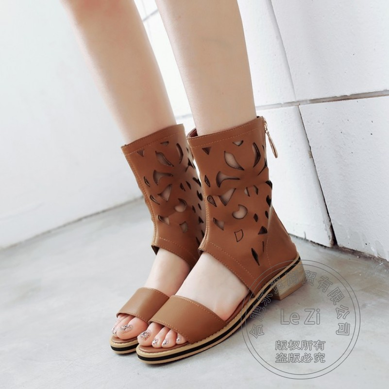 ФОТО Simple Back Zipper Sandals Sexy Open Peep Toe Booties Summer Boots Fashion Cut Out Personality New Arrival 2015 High Cone Heel