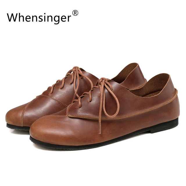 Whensinger - 2017 New Women Genuine Leather Shoes Lace-Up Flats Spring Autumn Style Fashion Design 176