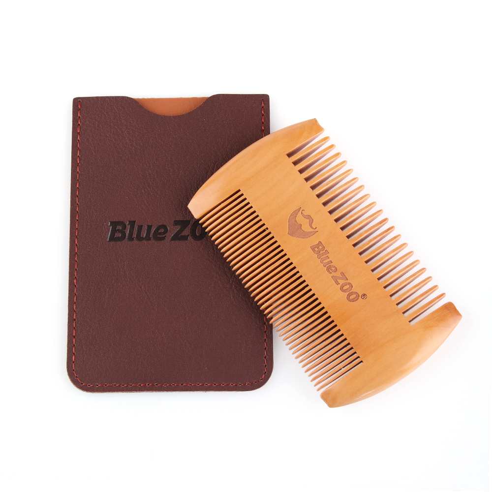 Fashion Anti Static Wooden Beard Comb Wood Pocket Comb with Fine Coarse Teeth For Beard Hair Mustaches Beard Hair Comb maquiagem(China)