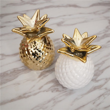 European Ceramic Crafts Pineapple Piggy Bank Home Decor Cute Ornaments Creative Money Box
