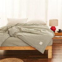 Stylish Green Little Plaid Pattern 100 Cotton Bedding Single Product Home Textiles 1 PC Environmental Printing