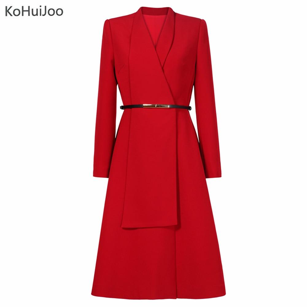 rouge Designer Revers Longues Qualité Robe Noir Élégante Haute Grand Dames À Piste Vêtements Manches Européenne Femmes Kohuijoo Mode jaune 2019 gx6UqU
