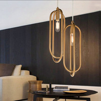 Nordic Art Loop Creative Concise Dining Room Pendant Lamp Gold Ring Cafe Restaurant Decoration Lights Loft Edison Bulbs Light