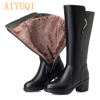 AIYUQI 2020 Female boots genuine leather women wool boots  big size high tube Military boots  Women Riding boots aiyuqi genuine leather female winter boots full cowhide waterproof wool lined fashion women booties female bare black boots