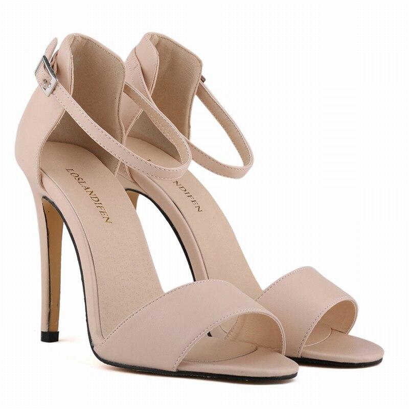 Summer Open Toe Ankle Straps Sandals Women Shoes 11 cm High Heels Shoes Peep Toe Sandal Party Wedding Nude Murah Chaussure
