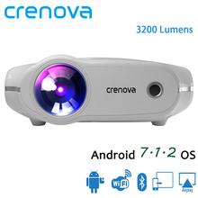 CRENOVA High Quality Led Projector For Home Theater system Movie Projector With 3200 Lumens Android 7.1.2 OS WIFI Bluetooth