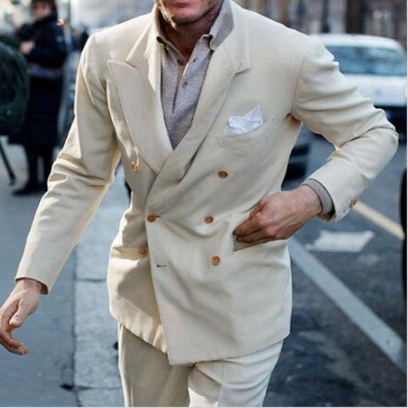 2018 Disegni In Bianco Crema Doppio Petto Ultime Coat Pantaloni Abiti Tuxedo Slim Fit Mens Suit Casual Giacca Sportiva 2 Pezzo Giacca Pantaloni Sangue Nutriente E Regolazione Dello Spirito