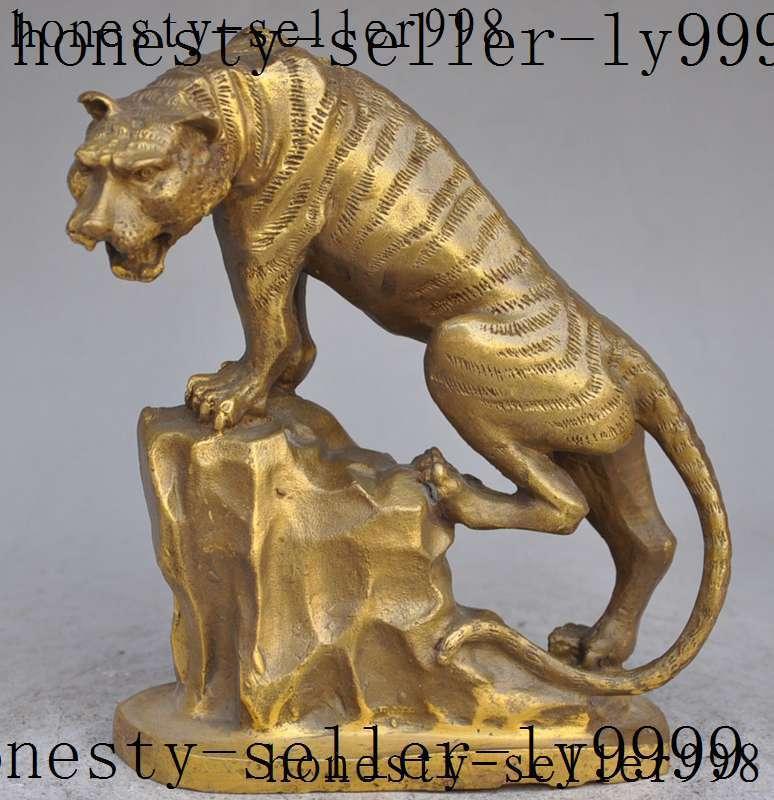 Christmas lucky chinese fengshui brass zodiac Anger tiger Roar Mountain climbing statue Halloween