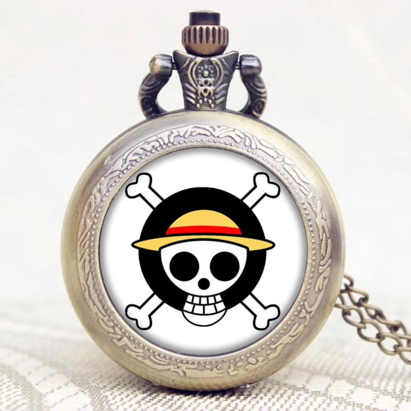 Japanese Animation One Piece Extension Skull Symbol Design Pocket Watch With Chain Necklace Best Gift