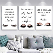 Modern eyelashes fashion canvas poster painting decor NO picture frame makeup wall girl bedroom salon