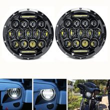 Auto Accessoires 2 stks 7 inch 75 w Led Koplamp Wit DRL Voor Jeep Wrangler 12 v 24 v Led voor Lada 4x4 urban Niva suzuki samurai(China)