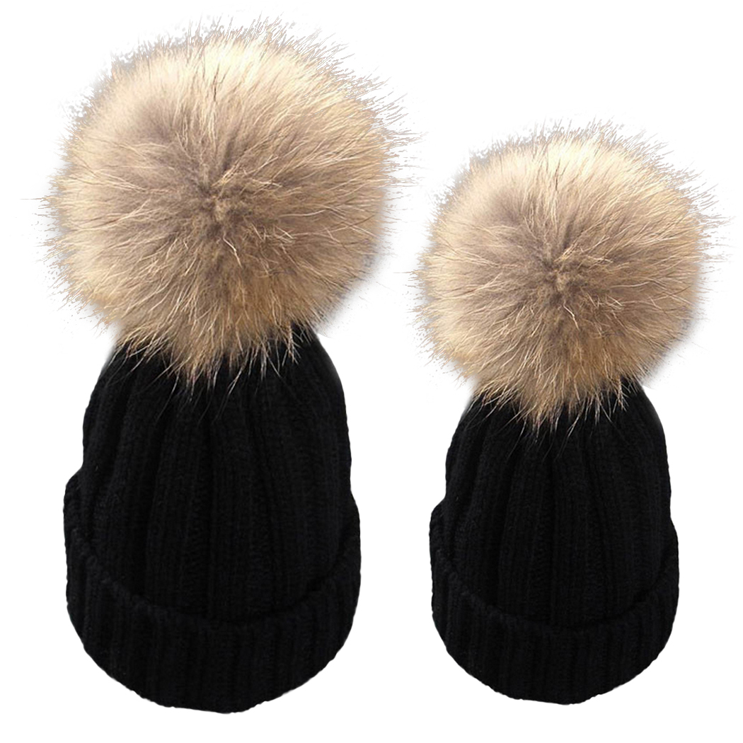 2 Pcs Mother Kids Children Baby 2017 Winter Knit Wool Beanie Bonnet Fur Pom Hat Crochet  Cap Cute Hats Caps Family Cap Gorros donnalla cute hat beanie hooded neck shawls baby kids winter warmer knit woolen crochet bowknot cape scarf hats
