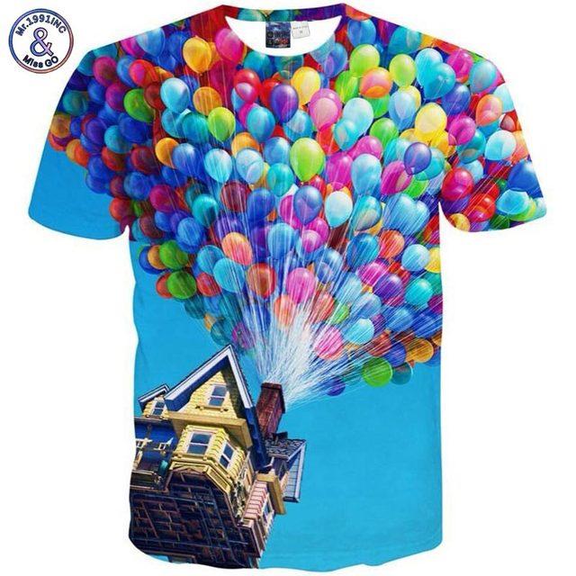 New fashion Summer Men/Women 3D T shirt cartoon print skull cat colorful balloon casual T-shrit Hip Hop Rock Funny Tops Tees