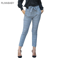 RLMABABY Grey Plaid Sashes High Waist Women Pants Casual Yellow Plaid Office Lady Work Trousers Slim 2017 Christmas Party Pant