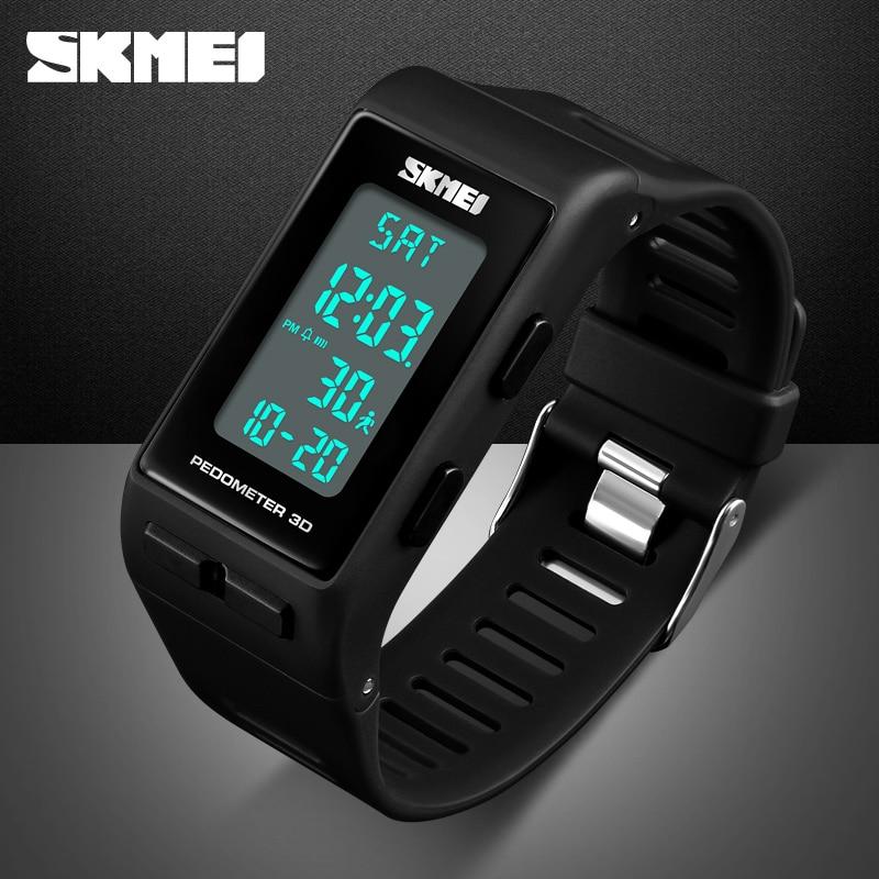 SKMEI Mens Sports Watches Top Brand Pedometer Calorie Chronograph Digital Watch LED Waterproof Clock For Men Women Wristwatch