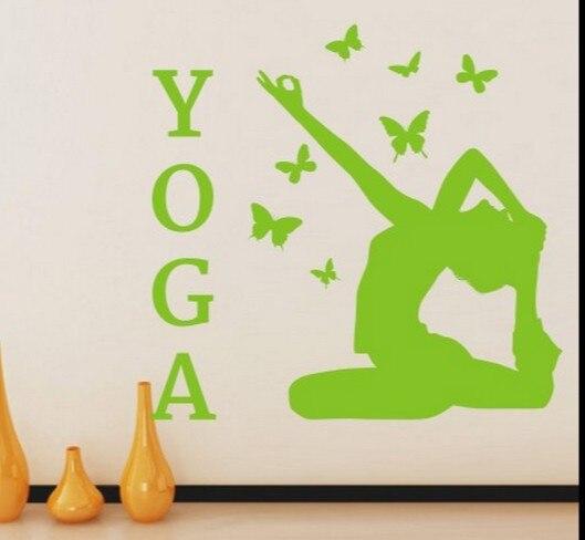 Yoga vinyle stickers muraux remise en forme Yoga fille papillon Art ...