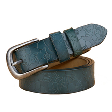 Wholesale Price Cowhide Flower Leather Women Belt Fashion Vintage Embossing Belts for Strap  Girls Cintos